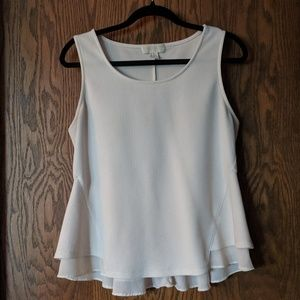 Forever 21 Plus Off-White Sleeveless Peplum Top